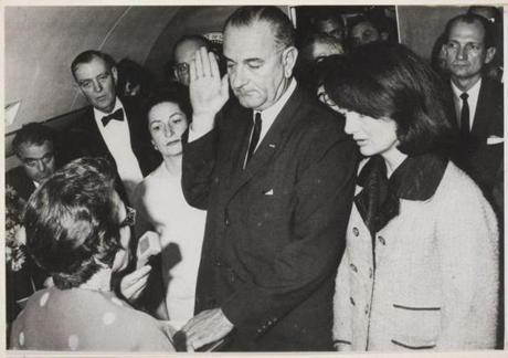 Lyndon Johnson is sworn in aboard Air Force One.